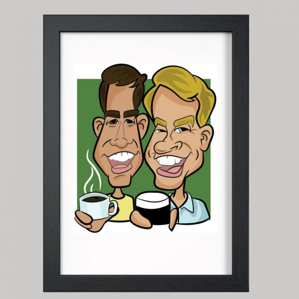 2 men holding drinks digital caricature