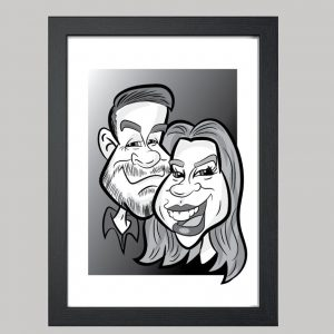 2 person digital monochrome caricature