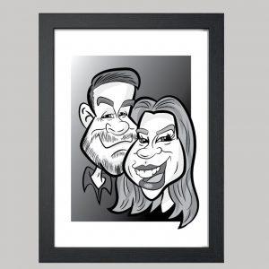 2 person digital monochrome caricature