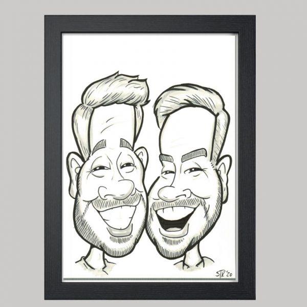 2 men hand drawn caricature