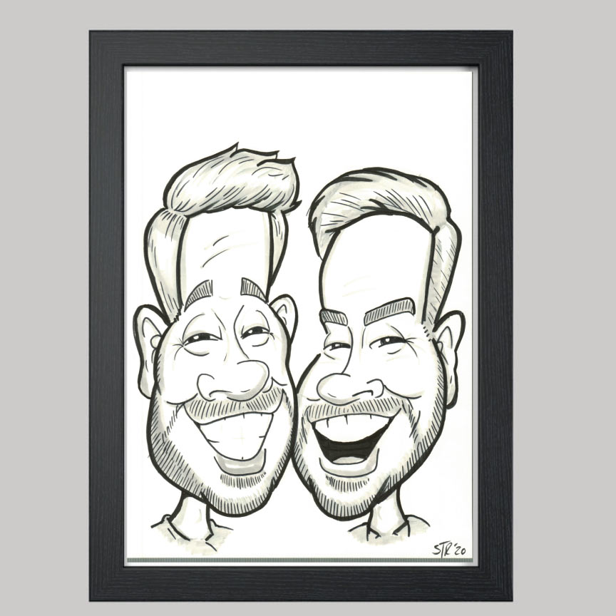 2 men hand drawn caricature