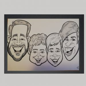 four person family black and white hand drawn caricature
