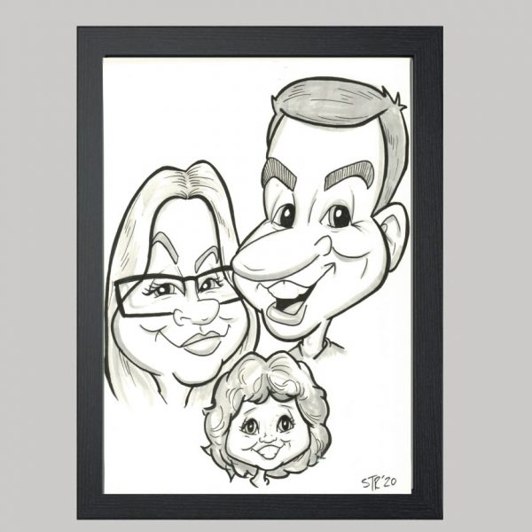 three person black and white hand drawn caricature