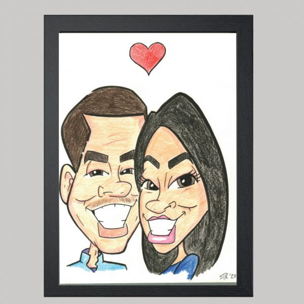 two person hand drawn colour caricature