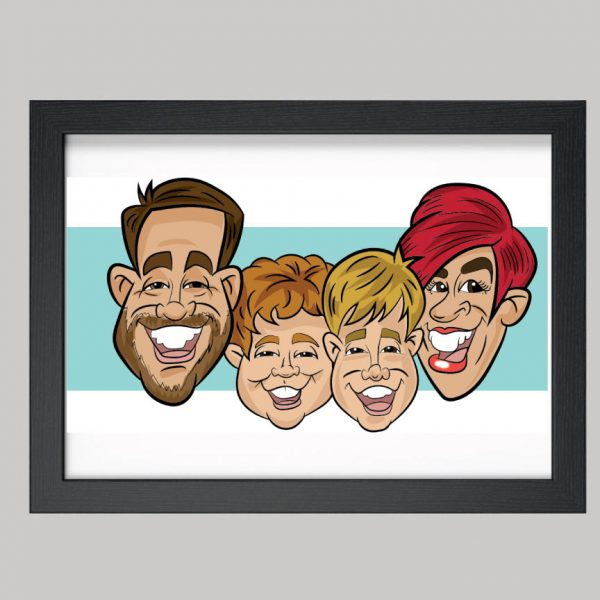 Four Person Family Digital Caricatures