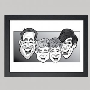 four person family digital monochrome caricature