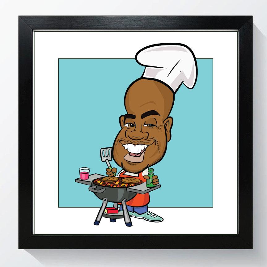 BBQ King digital caricature