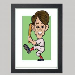 baseball player digital caricature