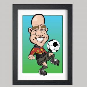 football coach digital caricature