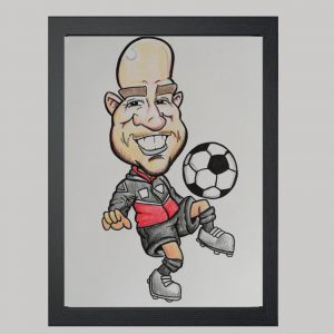 Football Coach Hand Drawn Colour Caricature