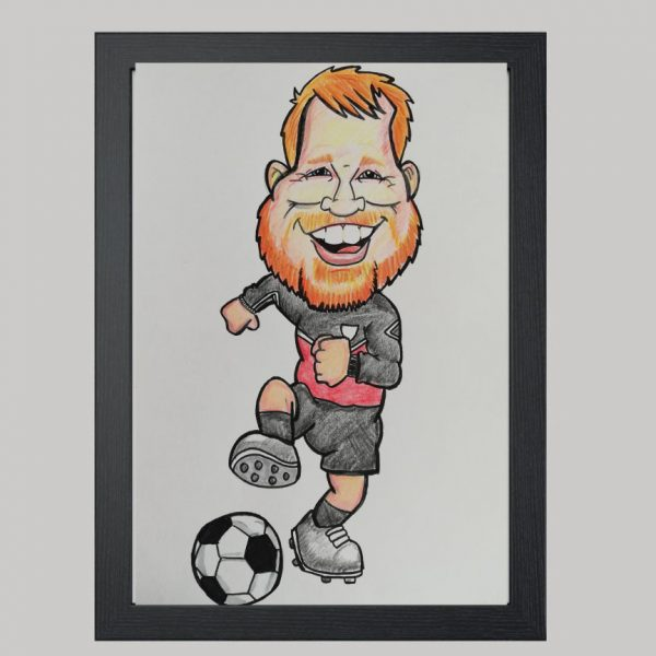 Football Player 1 Hand Drawn Colour Caricature