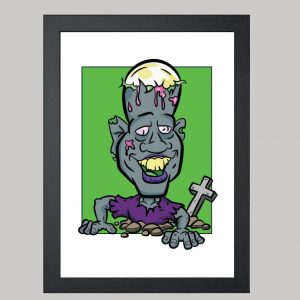 graveyard zombie digital caricature