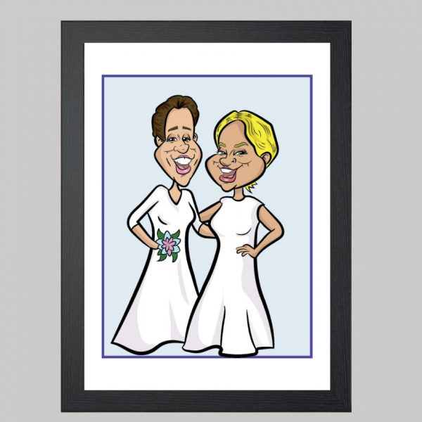 here come the brides digital caricature