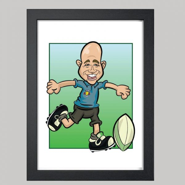 Rugby Player Digital Caricature