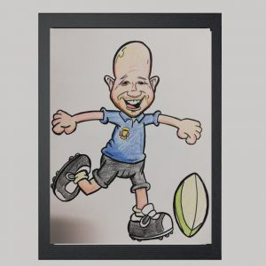 Rugby Player Hand Drawn Colour Caricature