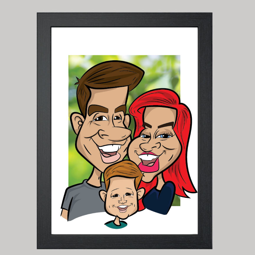 Three Person Digital Caricatures From Photos